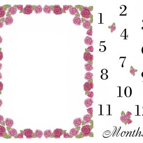 Pink Rose Baby Girl Milestone Month Blanket