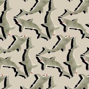 Tumbling Beige Sharks on Sand