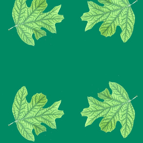 Double Green Leaf on Green