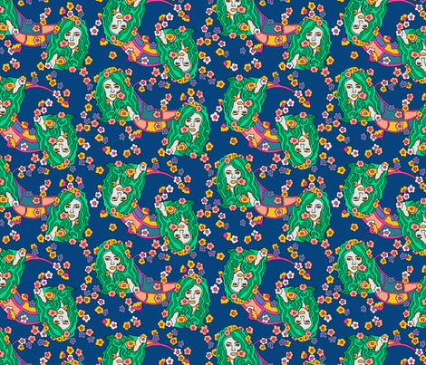 The Girl with Flowers in Her Hair fabric by gabfdesigns on Spoonflower - custom fabric