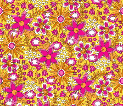 Peace, Love and Flowers (Pink) fabric by robyriker on Spoonflower - custom fabric