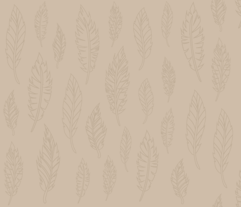 Tan Feather Pattern fabric by silveroakdesign on Spoonflower - custom fabric