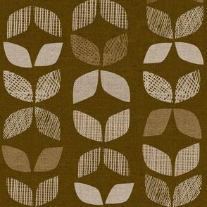 Mid Century Leaves {Brown}