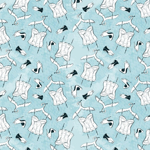Seamless Pattern with fashionable classic high-heeled shoes and corset.