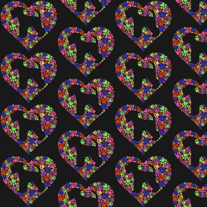 Heart and Paws Rainbow Black