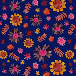 Pink Floral garden on blue by Anna