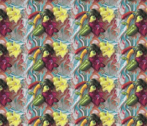 Ruby Red-Purple Daylilies in Salsa Peppers Swirl fabric by nancy_lee_moran_designs on Spoonflower - custom fabric