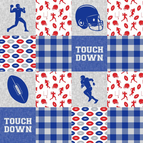 touch down - football wholecloth - red and royal blue -  plaid C18BS