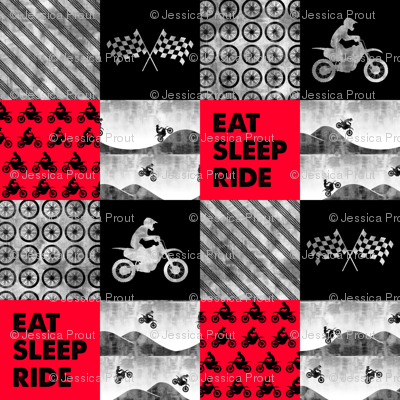 Motocross Patchwork - EAT SLEEP RIDE - red and black C18BS