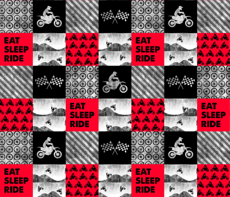 Motocross Patchwork - EAT SLEEP RIDE - red and black C18BS fabric by littlearrowdesign on Spoonflower - custom fabric