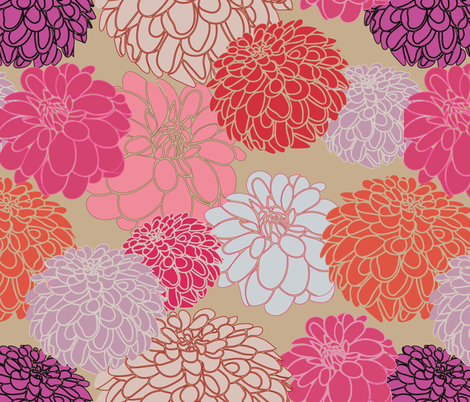 Dahlias BG tan fabric by pimprenellestudio on Spoonflower - custom fabric