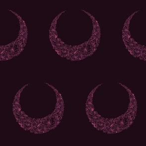 Floral Crescent Moon - Magenta