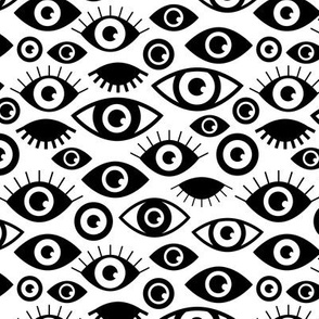 Beautiful eyes retro eye lash and love wink retro illustration monochrome black and white pattern