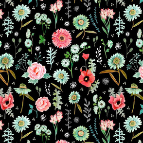 Field Flowers | black  // pink & green floral girls room nursery decor little girls fabric
