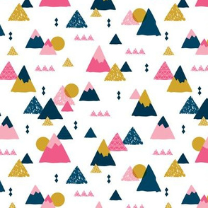 Geometric fuji japan mountain illustration winter woodland girls pink blue