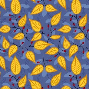 Autum leafs on blue