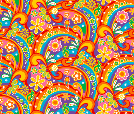 1960_Psychedelic Flower Power fabric by mia_valdez on Spoonflower - custom fabric