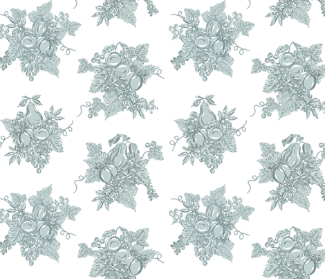 Toile Grapes Green on White fabric by ileneavery on Spoonflower - custom fabric