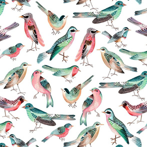 Bright Birds  // pink & green girls room nursery decor little girls fabric