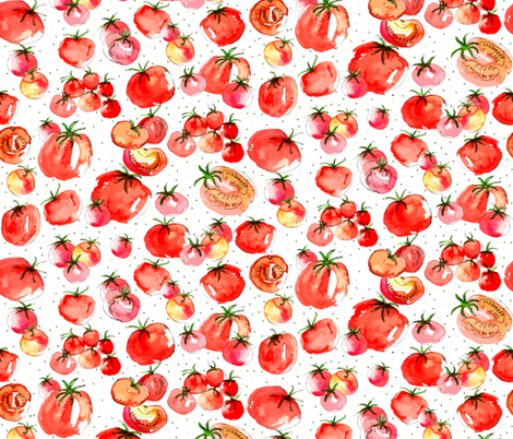 Watercolor Tomatoes polka dot background fabric by warpedspinster on Spoonflower - custom fabric