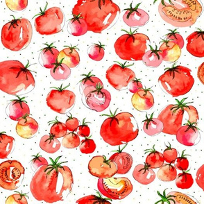 Watercolor Tomatoes polka dot background