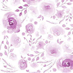 Pretty Watercolor Floral Purple
