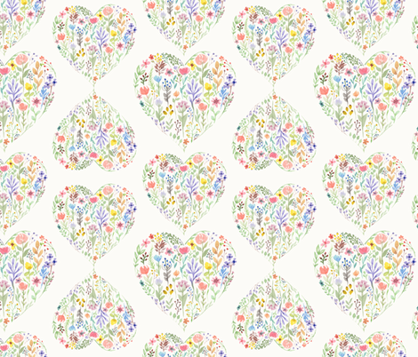 Flowerhearts fabric by margiecampbellsamuels on Spoonflower - custom fabric