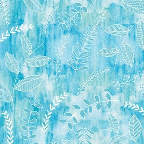 Leaves on Watercolour - aqua