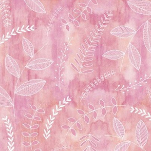 Leaves on Watercolour - plum