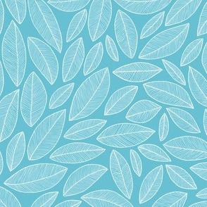 Doodle Leaves - aqua (inverse)