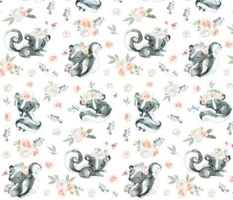 "4"" Boho Skunk fabric by hellobohobabe on Spoonflower - custom fabric"