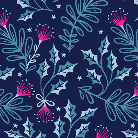 Festive Pohutukawa - Navy Pink fabric by andreaalice on Spoonflower - custom fabric