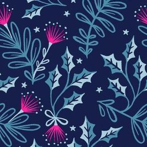 Festive Pohutukawa - Navy Pink