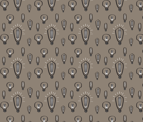 Hand-Drawn Bulbs With Tan Background fabric by huffernickel on Spoonflower - custom fabric