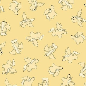 Puppy Unicorns co-ordinate - pale yellow