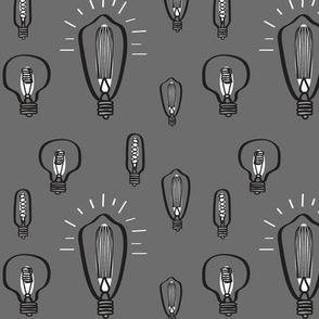 Hand-Drawn Bulbs Gray Background