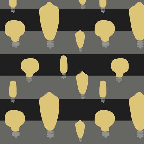 Hand-Drawn Bulbs Black Stripes fabric by huffernickel on Spoonflower - custom fabric