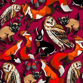 all the animals with a red background