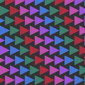 Colorful triangles rows on black background