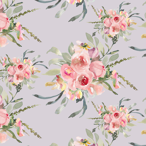 "8"" Selena Floral Bouquets // Lola Lavender fabric by hipkiddesigns on Spoonflower - custom fabric"