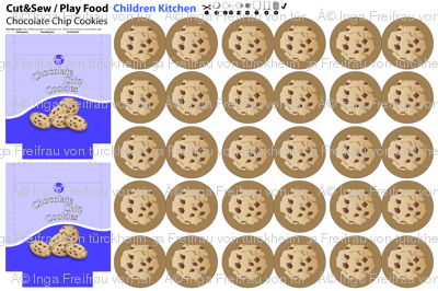 Cut and Sew: Play Food Children Kitchen: Chocolate Cookies with Bag (Fleece)
