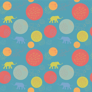 happy elephants teal