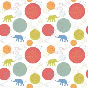 happy elephants white