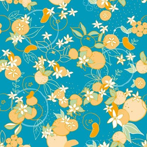 Mediterranean Mandarines Cyan Teal