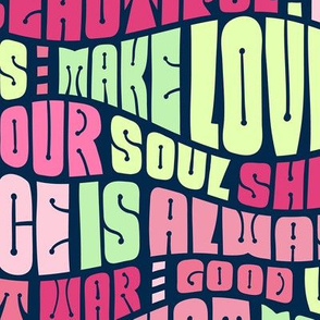 1960s Psychedelic Lettering - Make Love Not War