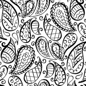black and white ditsy paisley