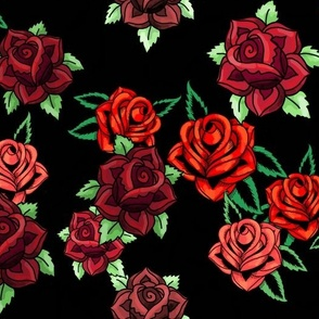 rockabilly tattoo roses on black burgundy and red