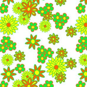 simple flowers  orange  yellow green white
