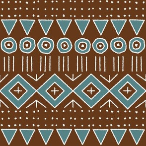 mudcloth 2 in brown and teal