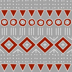 mudcloth 2 in gray and red